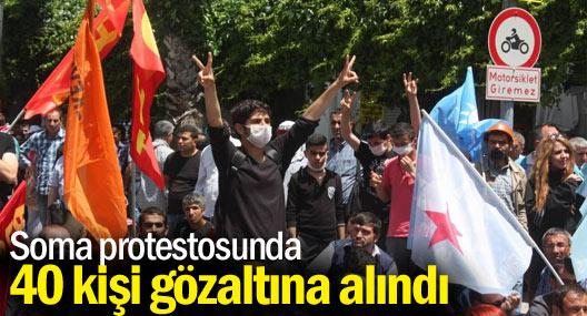 İzmir'deki Soma protestosunda 40 kişi gözaltına alındı