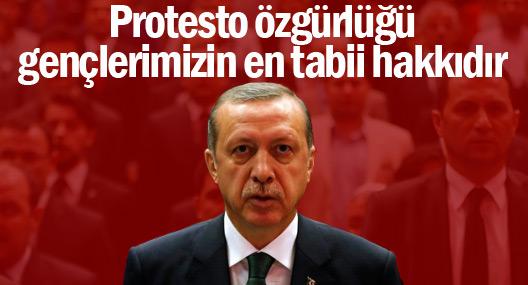 Erdoğan: Protesto özgürlüğü gençlerimizin en tabii hakkıdır
