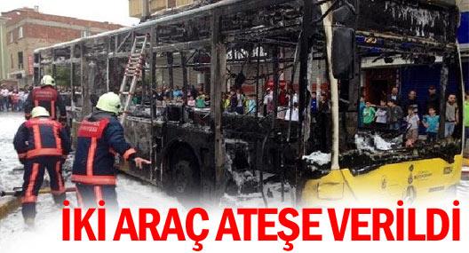 Göstericiler İett Otobüsünü ve itfaiye aracını yaktı
