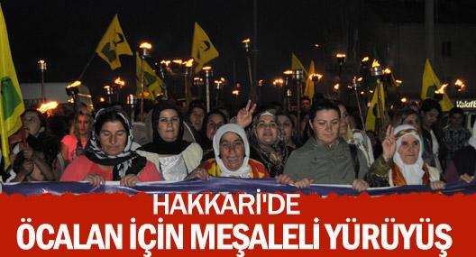 Hakkari'de Öcalan için meşaleli yürüyüş