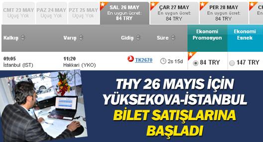 Yüksekova-İstanbul uçak seferi için bilet satışları başladı