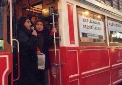 Gençler yasaklara karşı İstiklal'de tramvayı işgal etti