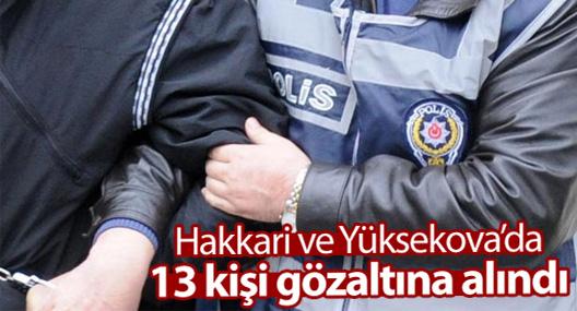 Hakkari ve Yüksekova'da 13 gözaltı