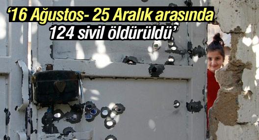TİHV: 16 Ağustos- 25 Aralık arasında 124 sivil öldürüldü
