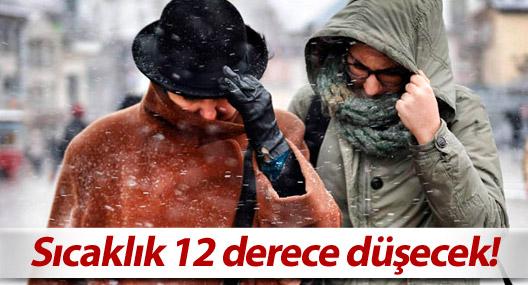Sıcaklık 12 derece düşecek!