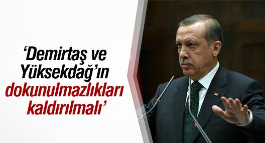 Erdoğan: Demirtaş ve Yüksekdağ'ın dokunulmazlıkları kaldırılmalı