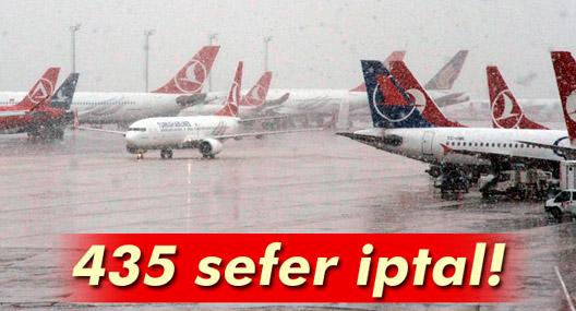 Kar uyarısı 435 seferi iptal ettirdi