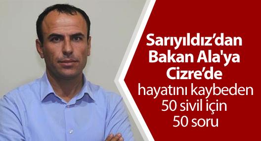 Sarıyıldız'dan Ala'ya, Cizre'de hayatını kaybeden 50 sivil için 50 soru!