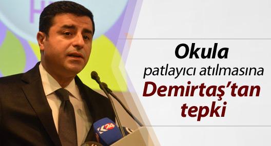 Diyarbakır'da okula patlayıcı atılmasına Demirtaş'tan tepki