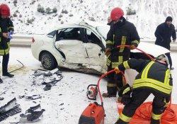 Kayganlaşan yolda feci kaza: 1 ölü, 3 yaralı