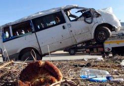Antep'te işci servisi takla attı: 12 yaralı
