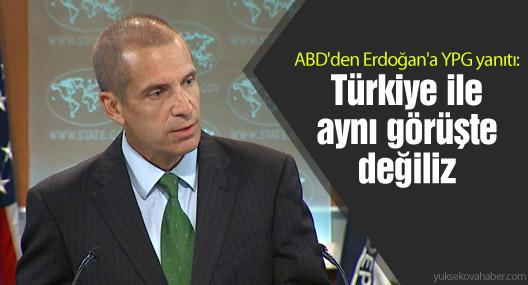 ABD yineledi: YPG konusunda Türkiye ile aynı görüşte değiliz