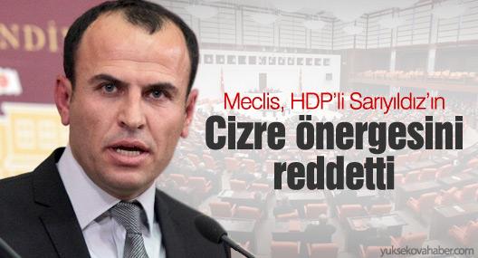Meclis, HDP'li Sarıyıldız'ın Cizre önergesini reddetti