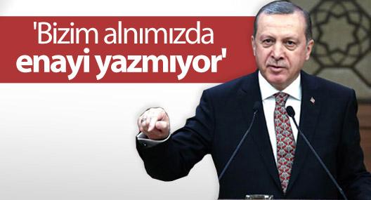 Erdoğan: 'Bizim alnımızda enayi yazmıyor'