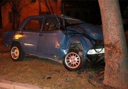 Ehliyetsiz sürücü ağaca çarptı: 1 yaralı