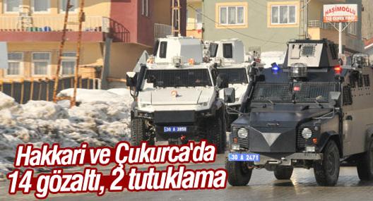 Hakkari ve Çukurca'da 14 gözaltı, 2 tutuklama