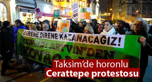 Taksim'de horonlu Cerattepe protestosu