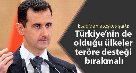 Esad'dan ateşkes şartı: Türkiye'nin de olduğu ülkeler teröre desteği bırakmalı