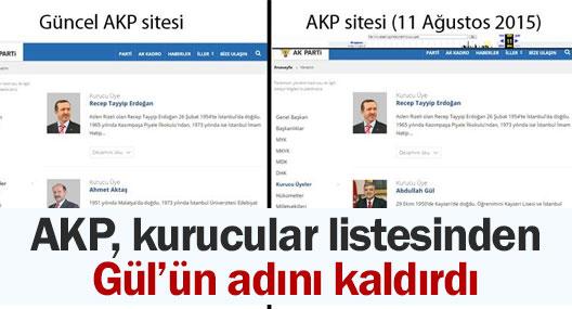 AKP, kurucular listesinden Gül'ün adını çıkardı