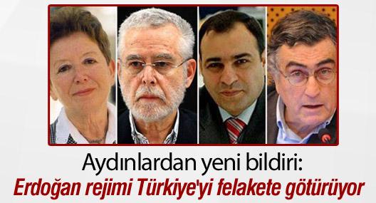 Aydınlardan yeni bildiri:'Erdoğan rejimi Türkiye'yi felakete götürüyor'