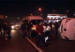 İşçi servisi kaza yaptı: 3 yaralı