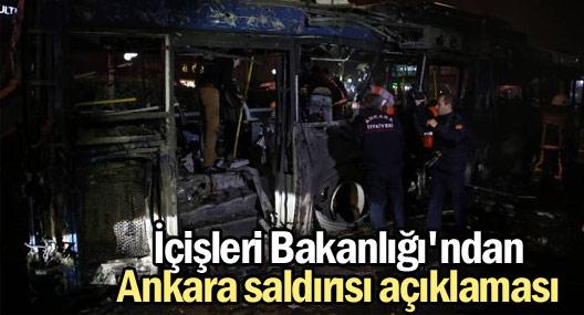 İçişleri Bakanlığı'ndan Ankara saldırısı açıklaması