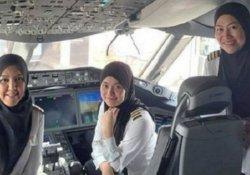 Bruneili kadın pilotlar Suudi Arabistan'a uçarak tarih yazdı