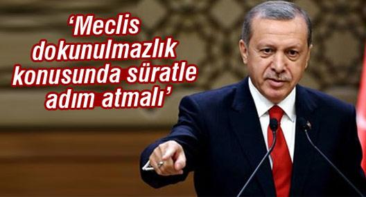 Erdoğan: Meclis dokunulmazlık konusunda süratle adım atmalı