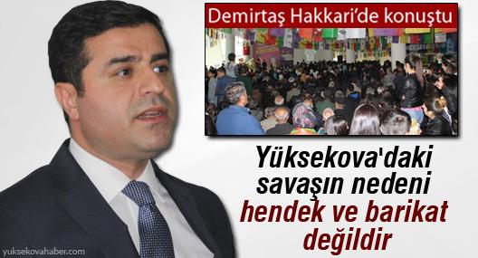 Demirtaş: Yüksekova'daki savaşın nedeni hendek ve barikat değildir