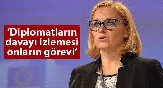 AB: Diplomatların Dündar ve Gül'ün davasını izlemesi onların görevi