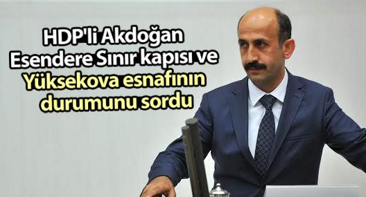 HDP'li Akdoğan Esendere Sınır kapısı ve Yüksekova esnafının durumunu sordu