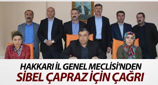 Hakkari İl Genel Meclisi'nden Sibel Çapraz için çağrı