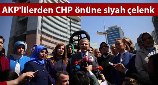 AKP'lilerden CHP önüne siyah çelenk