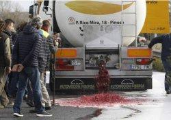 Fransız çiftçiler protesto için İspanyol şaraplarını döktü