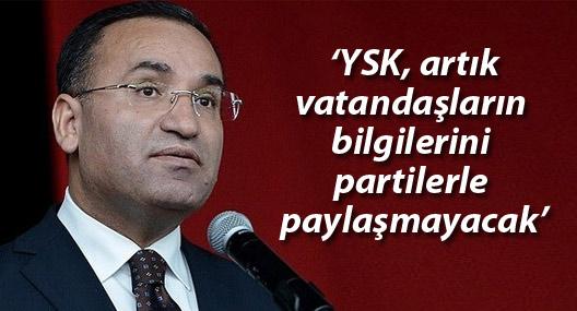 Adalet Bakanı: YSK, artık vatandaşların bilgilerini partilerle paylaşmayacak