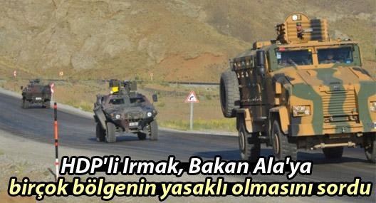 HDP'li Irmak, Ala'ya yasaklı bölgeleri sordu