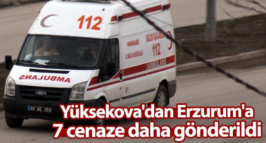 Yüksekova'dan Erzurum'a 7 cenaze daha gönderildi