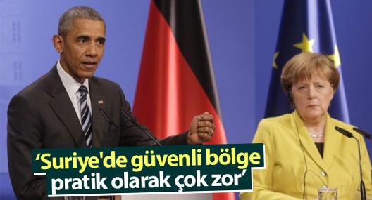Obama: Suriye'de güvenli bölge pratik olarak çok zor