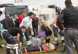 Erzurum'da otobüs devrildi: 25 yaralı
