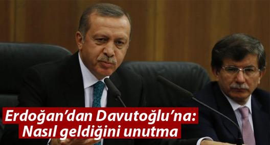 Erdoğan'dan Davutoğlu'na mesaj