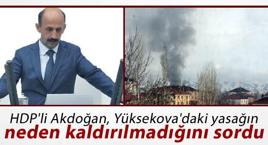 HDP'li Akdoğan, Yüksekova'da yasağın neden kaldırılmadığını sordu