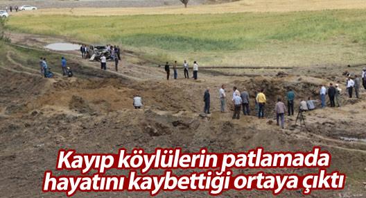 Kayıp köylülerin patlamada hayatını kaybettiği ortaya çıktı