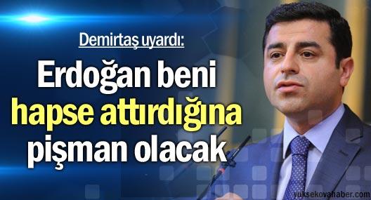 Demirtaş: Erdoğan beni hapse attırdığına pişman olacak