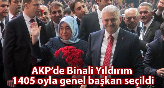 AKP'de Binali Yıldırım 1405 oyla genel başkan seçildi