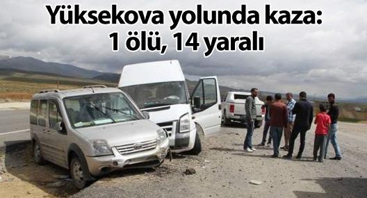 Yüksekova'ya dönüş yolunda kaza: 1 ölü, 14 yaralı