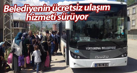 Yüksekova'da belediyenin ücretsiz ulaşım hizmeti sürüyor