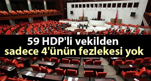 59 HDP'li vekilden sadece 4'ünün fezlekesi yok
