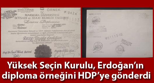 YSK Erdoğan'ın diploma örneğini HDP'ye gönderdi