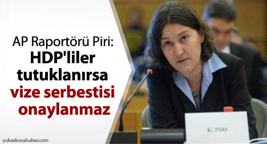 AP Raportörü Piri: HDP'liler tutuklanırsa vize serbestisi onaylanmaz