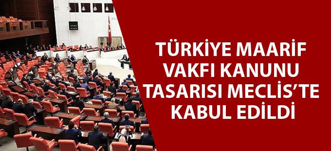 Türkiye Maarif Vakfı Kanunu Tasarısı Meclis'te kabul edildi